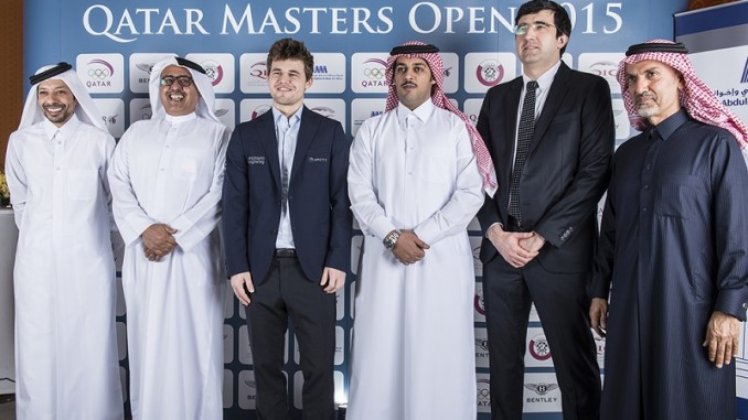 Magnus Carlsen and Vladimir Kramnik pictured at the opening ceremony of the tournament. | photo © David Llada, www.qatarmastersopen.com
