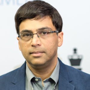 A satisfied Viswanathan Anand after his win over Caruana. He now shares the top of the standings with Anish Giri on 2.5/3. Photograph by John Lee Shaw © www.hotoffthechess.com