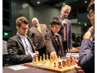 Shreyas Royal makes the first move in Carlsen vs Anand at London Chess 2017. He is also reported to be lined up to make the opening move in a game during this year's World Chess Championships in London.   Photo: John Saunders (@johnchess).