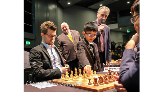 Shreyas Royal makes the first move in Carlsen vs Anand at London Chess 2017. He is also reported to be lined up to make the opening move in a game during this year's World Chess Championships in London. | Photo: John Saunders (@johnchess).