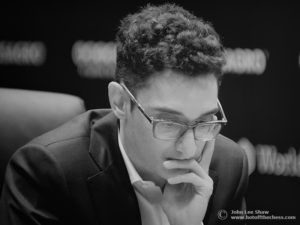 Fabiano Caruana thinking. Photograph by John Lee Shaw © www.hotoffthechess.com