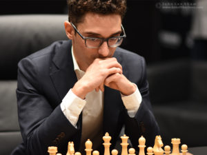 Fabiano Caruana ponders at the start of game 3.