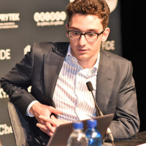 Fabiano Caruana after game six of the FIDE World Chess Championship 2018.