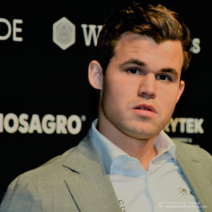 Magnus Carlsen, after Game 8, FIDE World Chess Championship 2018 | Photograph by John Lee Shaw © www.hotoffthechess.com.