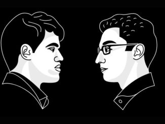 Official graphics of Magnus Carlsen and Fabiano Caruana on a black background | © World Chess